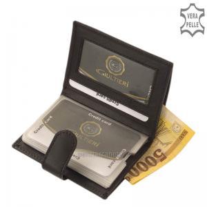 Bőr kártyatartó RFID védelemmel fekete Giultieri RF2038