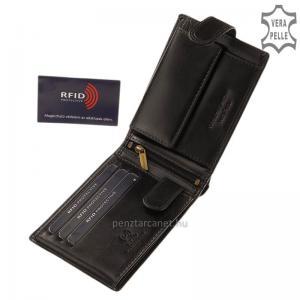 RFID Corvo Bianco Luxury bőr férfi pénztárca RCBS1021 fekete