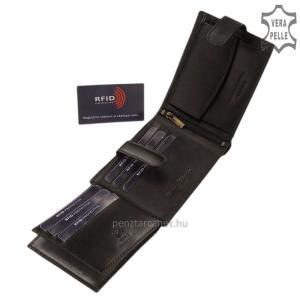 RFID Corvo Bianco Luxury bőr férfi pénztárca RCBS6002L/T fekete